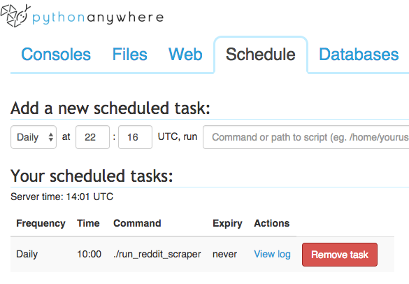 Scheduling Web Scrapers on the PythonAnywhere Cloud (Scrapy
