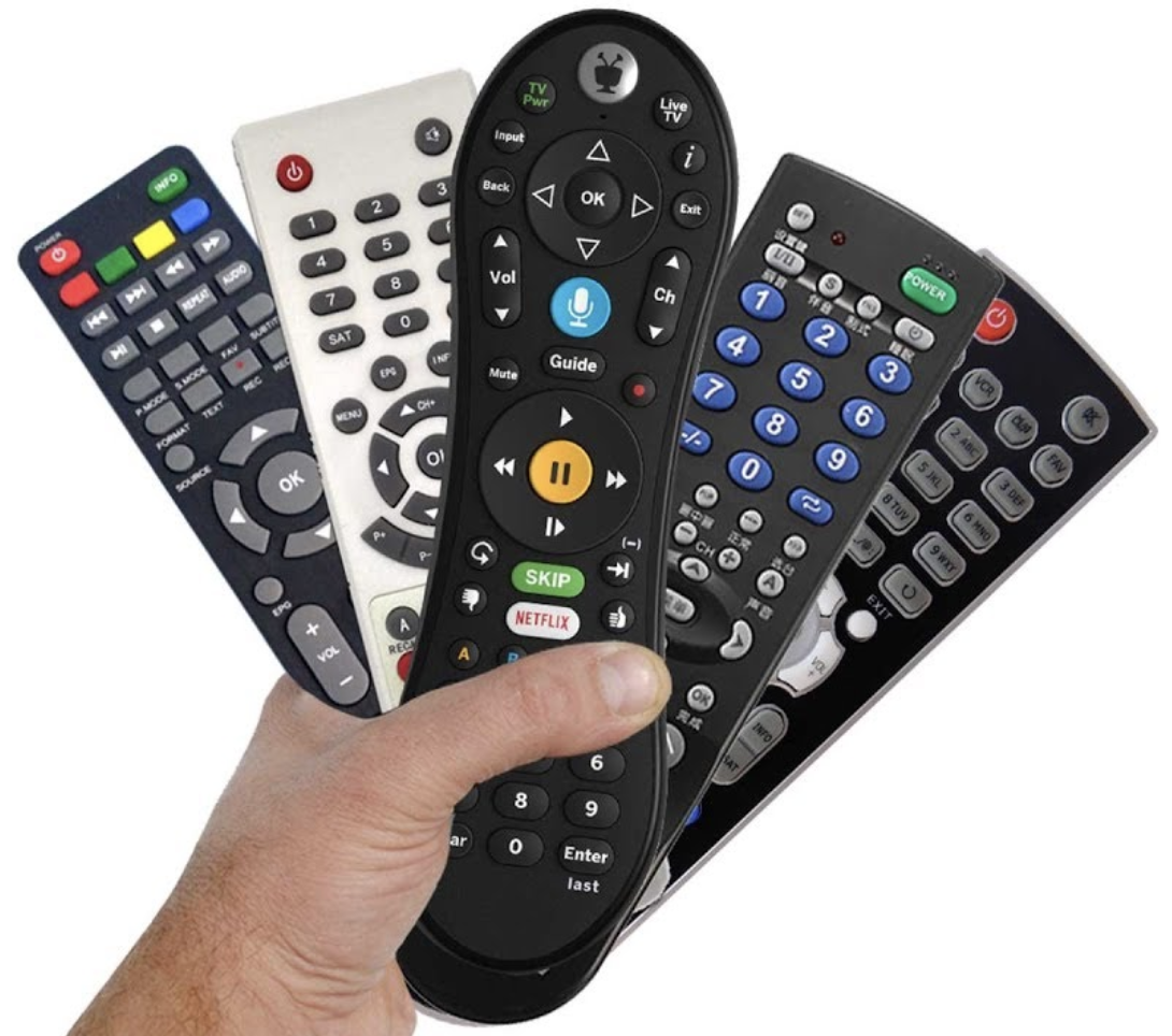 Lots of remotes; one for each component of a home theatre system